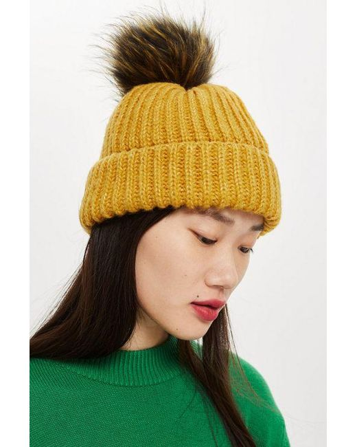 TOPSHOP - Yellow Knitted Faux Fur Pom Hat - Lyst