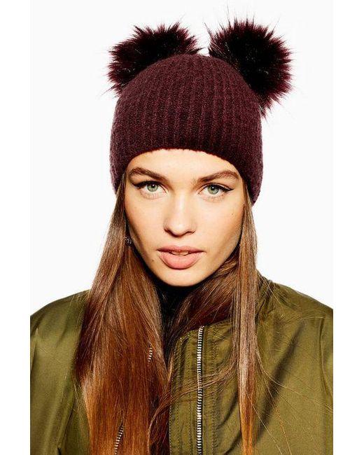 fa4963ba6a1 TOPSHOP - Brown Faux Fur Pom Pom Beanie - Lyst ...