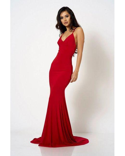 25555223 Club L - Red cross Back Fishtail Maxi Dress By London - Lyst ...