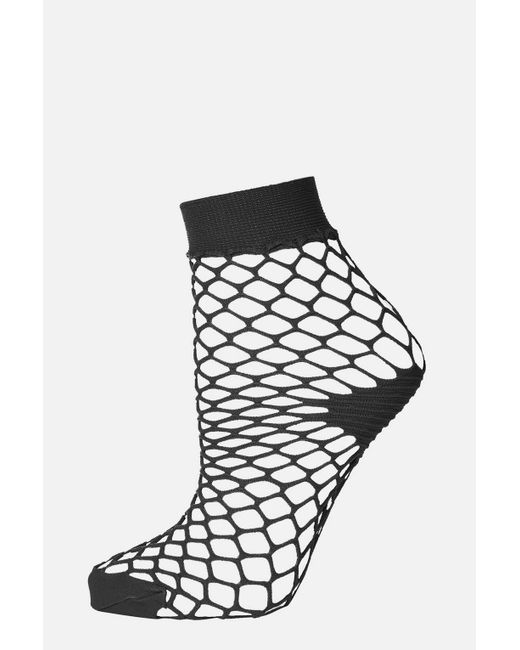 TOPSHOP - Black Fishnet Ankle Socks - Lyst