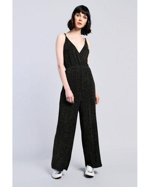38afb4d1328 Glamorous - Black shimmer Metallic Thread Jumpsuit By - Lyst ...