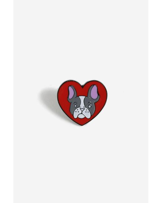 TOPSHOP - Red Heart Shape French Bulldog Pin - Lyst