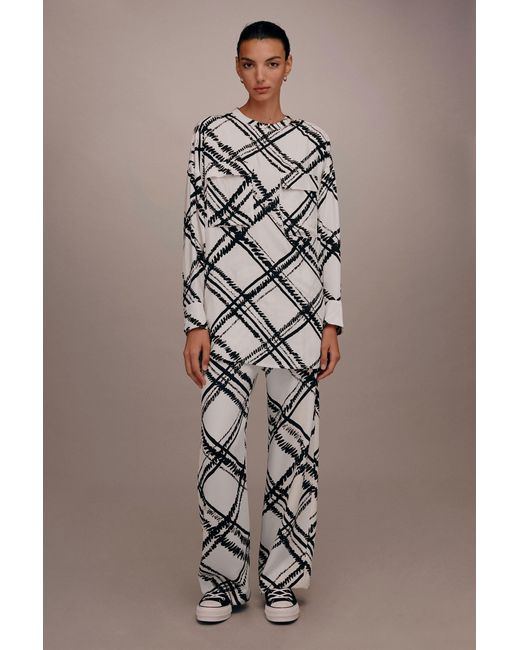 TOPSHOP - White giant Check Leg Trousers By Boutique - Lyst