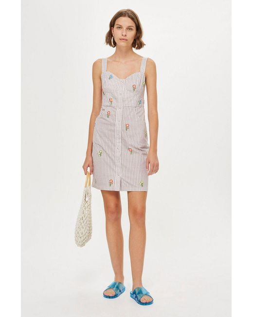 TOPSHOP - Multicolor Tall Gingham Embroided Pinafore Dress - Lyst