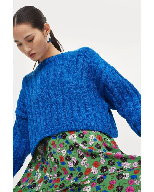 TOPSHOP - Blue Chenille Cropped Sweater - Lyst