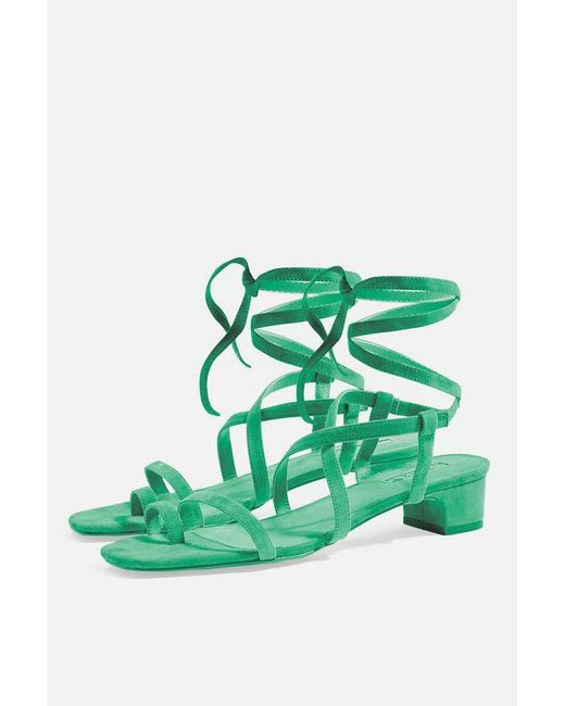 TOPSHOP - Green Fable Strappy Sandals - Lyst
