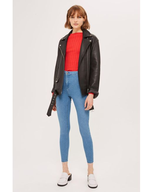 TOPSHOP - Moto Authentic Blue Joni Jeans - Lyst