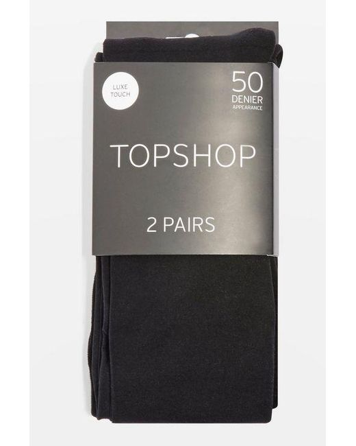 TOPSHOP - Black 50 Denier Tights 2 Pack - Lyst