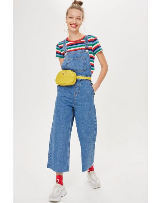 TOPSHOP - Blue Cropped Denim Jumpsuit - Lyst