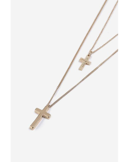 TOPSHOP - Metallic Two Row Cross Necklace - Lyst