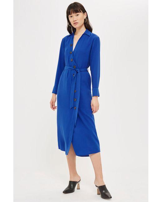 TOPSHOP - Blue Horn Button Shirt Midi Dress - Lyst