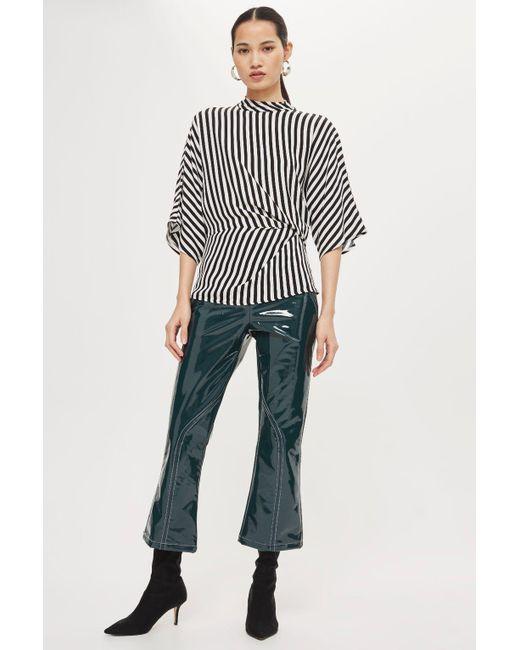 TOPSHOP   Black Striped Tuck Detail Top   Lyst