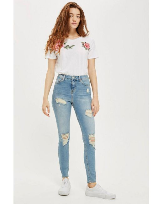 TOPSHOP - Blue Moto Bleach Super Ripped Jamie Jeans - Lyst