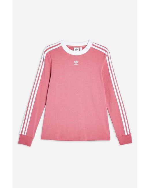290d9640 ... Adidas - Pink Three Stripe Long Sleeve T-shirt By - Lyst. Visit TOPSHOP