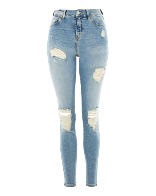 TOPSHOP | Blue Moto Bleach Super Ripped Jamie Jeans | Lyst