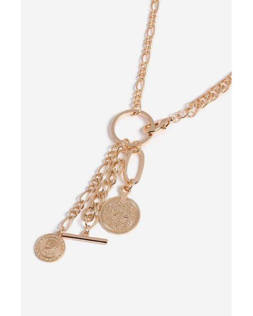 TOPSHOP - Metallic Multi Charm Lariat Necklace - Lyst