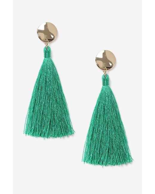TOPSHOP | Green Stud Tassel Drop Earrings | Lyst