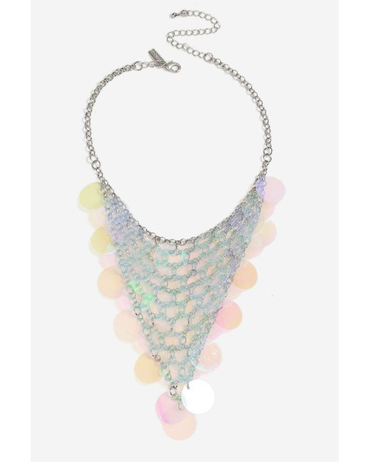 TOPSHOP | Blue Sequin Overlay Collar Necklace | Lyst