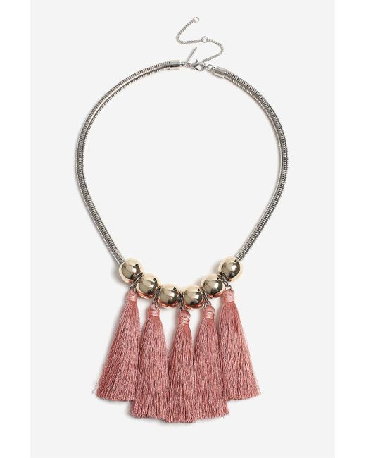 TOPSHOP | Pink Tassel And Ball Collar Necklace | Lyst