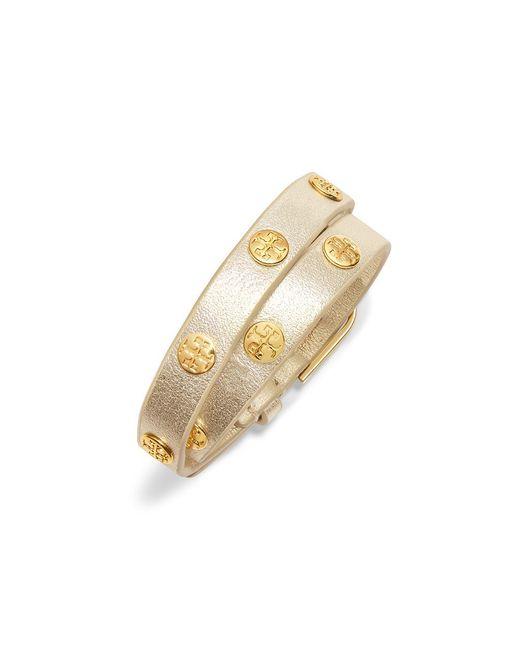 Tory Burch | Metallic Double-wrap Logo Stud Bracelet | Lyst