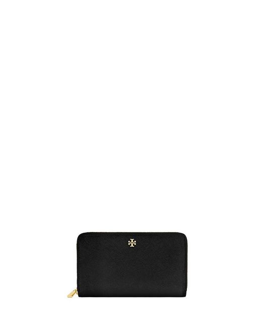 Tory Burch | Black Robinson Zip Continental Wallet | Lyst