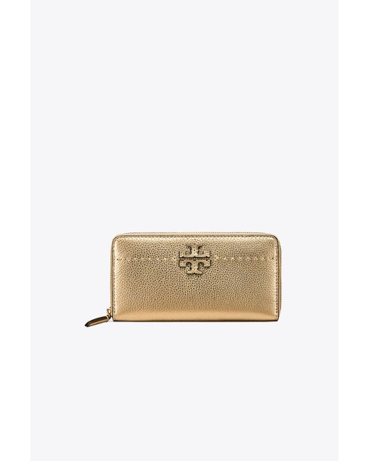 Tory Burch | Mcgraw Metallic Zip Continental Wallet | Lyst