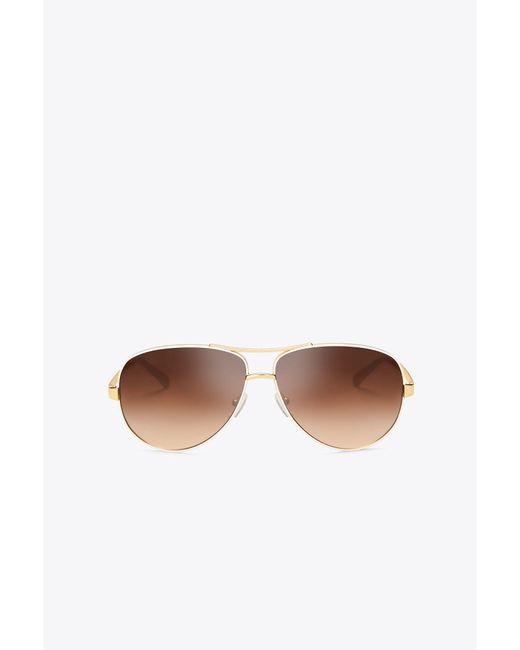 Tory Burch - Metallic T‐print Aviator Sunglasses - Lyst