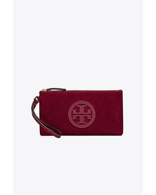 Tory Burch | Red Charlie Suede Clutch | Lyst