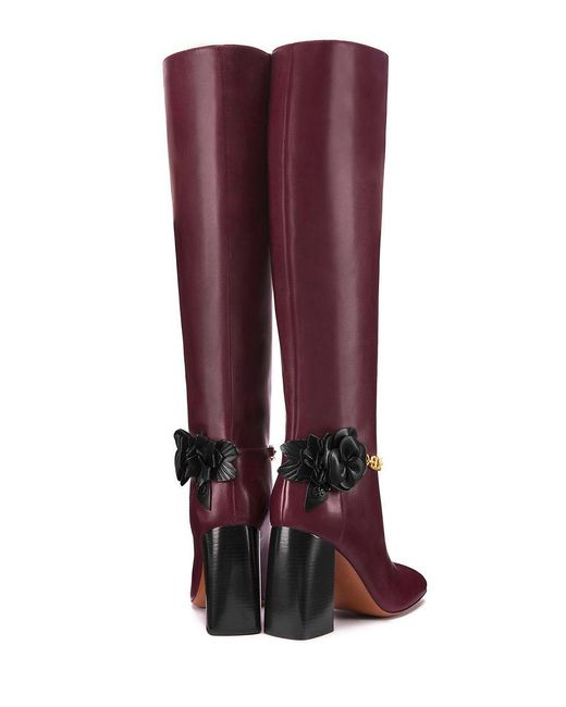 Tory Burch Blossom Leather Knee High Boots In Pink Save