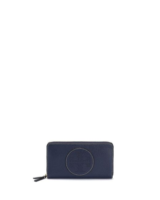 Tory Burch   Blue Perforated-logo Zip Continental Wallet   Lyst