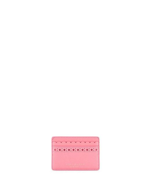 Tory Burch   Pink Block-t Brogue Slim Card Case   Lyst