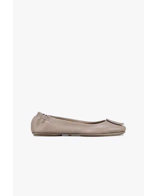 Tory Burch - Gray Minnie Travel Ballet Flat - Lyst