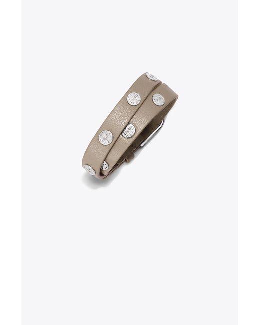 Tory Burch | Gray Double-wrap Logo Stud Bracelet | Lyst