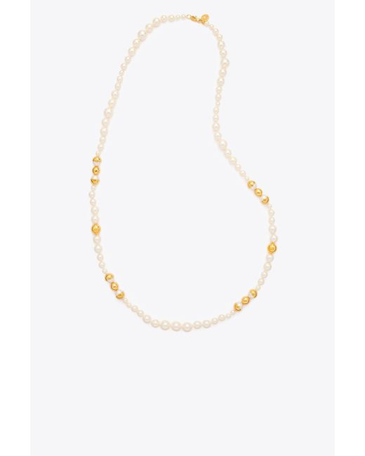Tory Burch - Multicolor Capped Crystal-pearl Long Necklace - Lyst