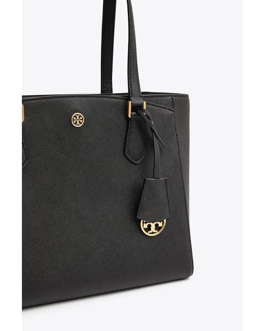9939cea413a1 ... Tory Burch - Black Robinson Small Leather Tote - Lyst ...