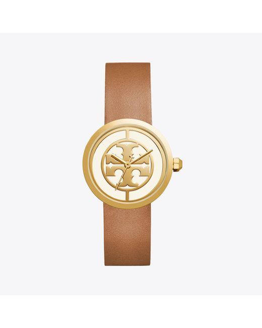 Tory Burch - Metallic 36mm Reva Leather-strap Watch - Lyst