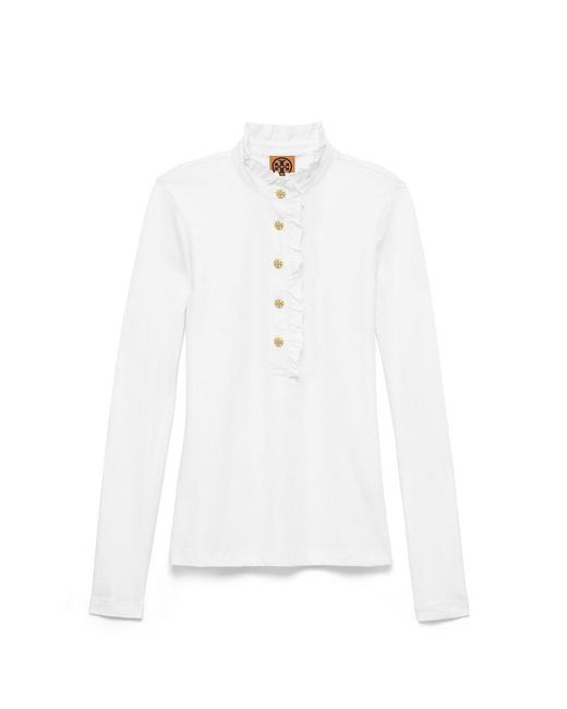 Tory Burch | White Long-sleeve Lidia Polo | Lyst