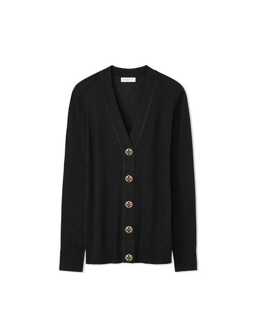 Tory Burch | Black Merino Wool Simone Cardigan | Lyst