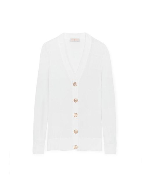 Tory Burch | White Cotton Simone Cardigan | Lyst