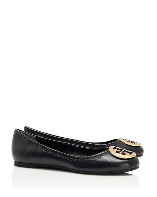 Tory Burch | Black Reva Leather Ballet Flats | Lyst