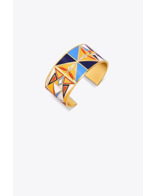 Tory Burch - Multicolor Kaleidoscope Enameled Wide Cuff - Lyst