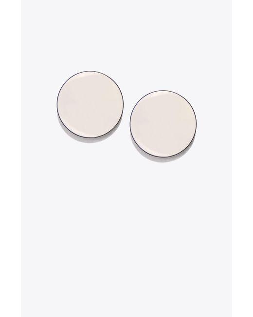 Tory Burch - White Disk Earring - Lyst
