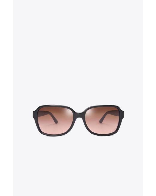 Tory Burch   Black Pierced-t Rectangle Sunglasses   Lyst