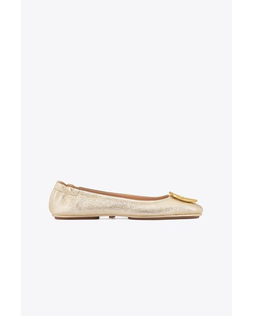 Tory Burch - Minnie Travel Ballet Flat, Metallic Leather - Lyst