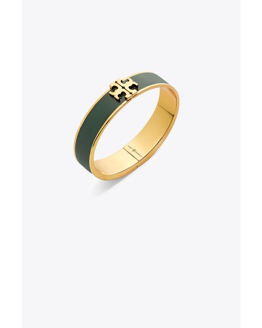Tory Burch - Metallic Raised Logo Thin Enamel Hinged Bracelet - Lyst