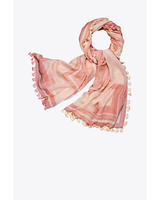 Tory Burch - Pink T Logo Oblong Scarf - Lyst