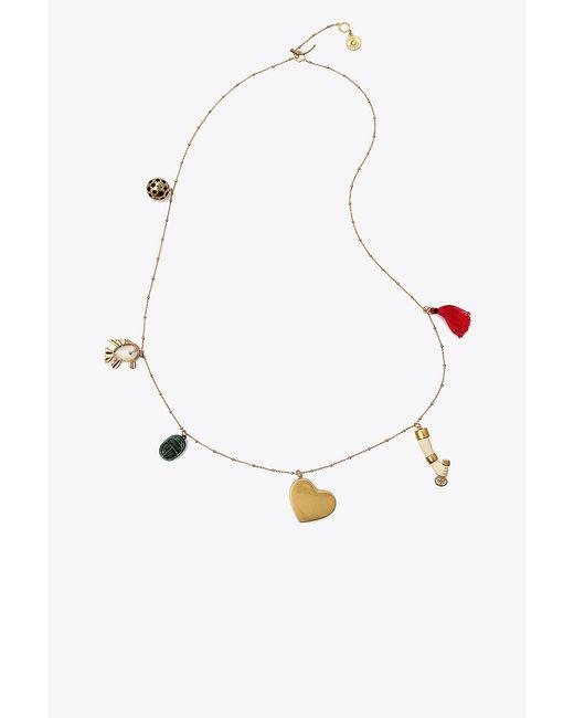 Tory Burch | Metallic Charm Necklace | Lyst