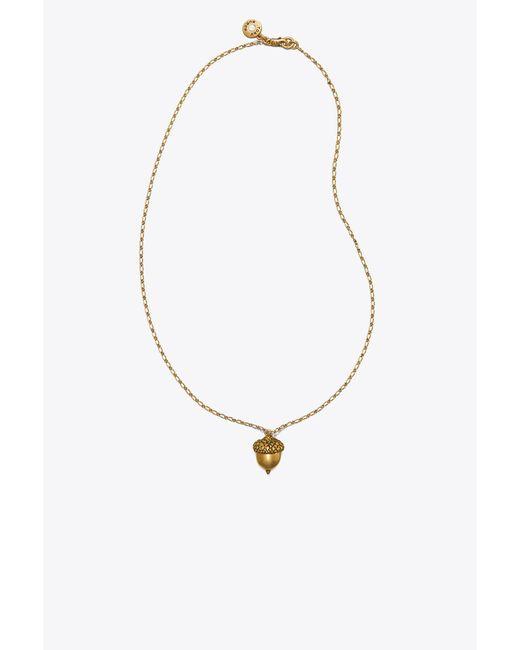 Tory Burch - Metallic Acorn Pendant Necklace - Lyst
