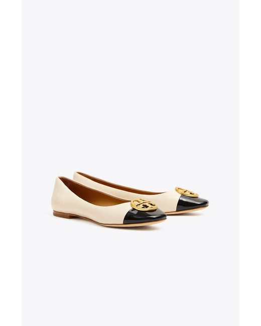 Tory Burch - Natural Women's Chelsea Cap Toe Leather Ballet Flats - Lyst