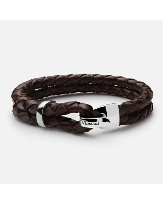 Miansai - Brown Beacon Braided Leather Bracelet, Sterling-silver for Men - Lyst